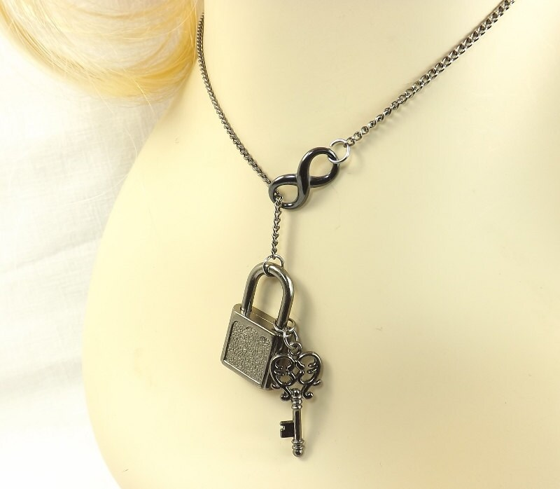 """BDSM gift Infinity Necklace bdsm """"lock and key"""" submissive gift Lariat and Y Necklace - product images  of"""