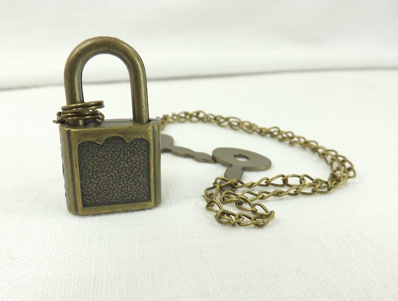 Submissive Necklace Padlock Necklace Antiqued Brass Lock and Chain slave day collar - product image