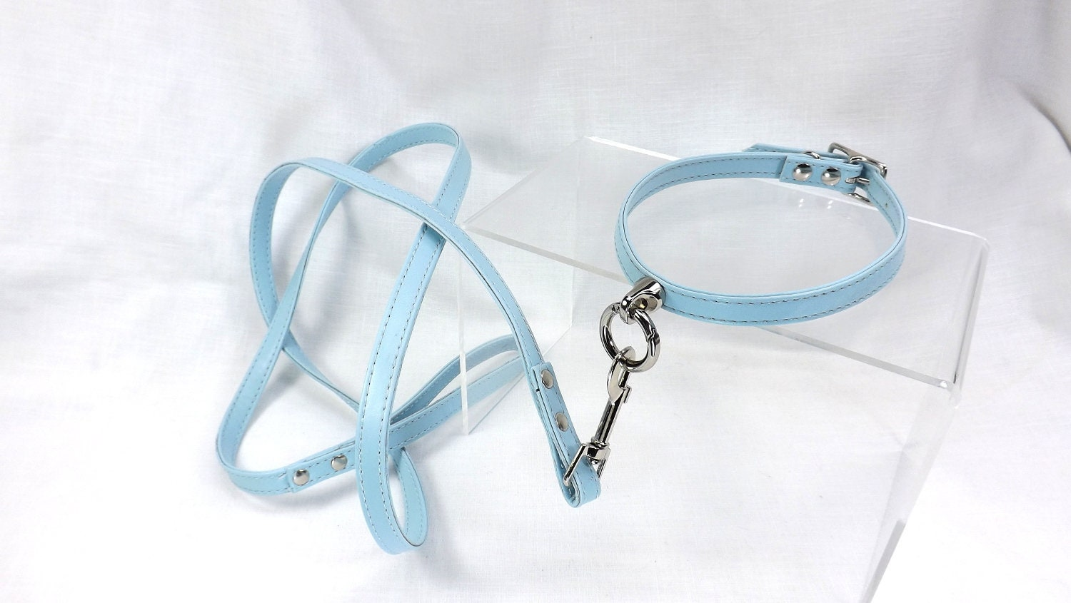 O ring Day Collar with leash slave Collar kitten play collar ddlg bdsm day collar and leash set - product image