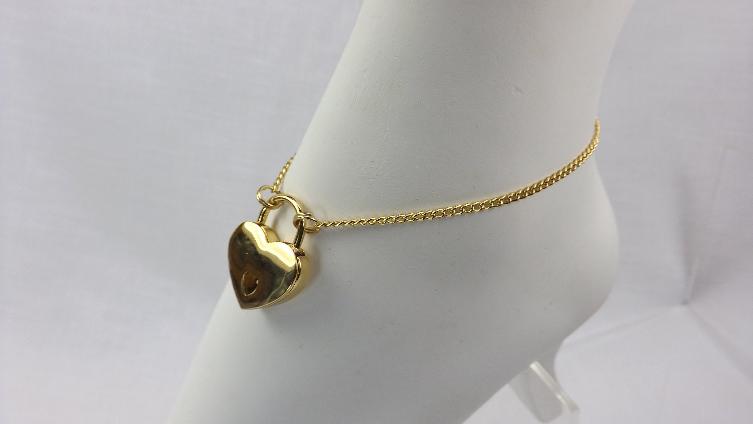 Gold Heart Lock anklet bdsm jewelrygift for her submissive ankle bracelet locking jewelry - product images  of