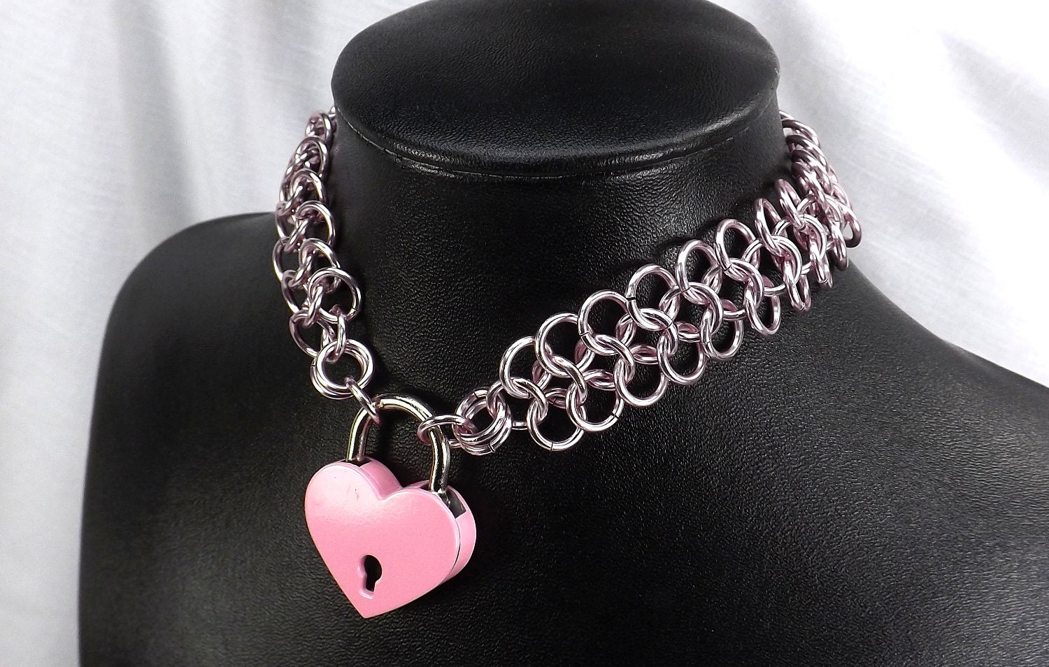 Pink locking heart with pink chain choker. Handmade chain with pink lock and key chain choker babygirl ddlg jewelry gift for her - product images  of
