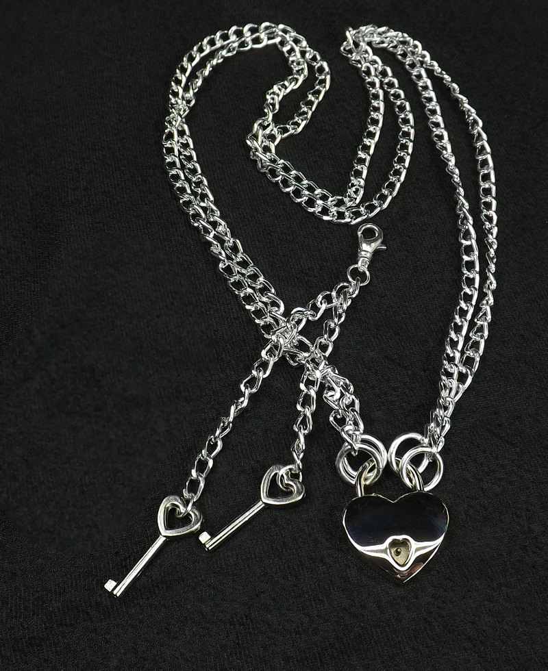 Locking Jewelry Bdsm Necklace multi strand necklace submissive necklace Double chains with working heart lock and keys - product images  of