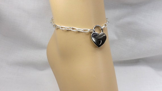 Silver Padlock Heart Shaped Clip On Charms For Anklets//Bracelets.
