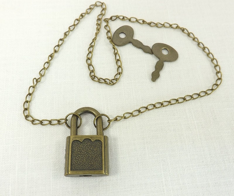 Submissive Necklace Padlock Necklace Antiqued Brass Lock and Chain slave day collar - product images  of