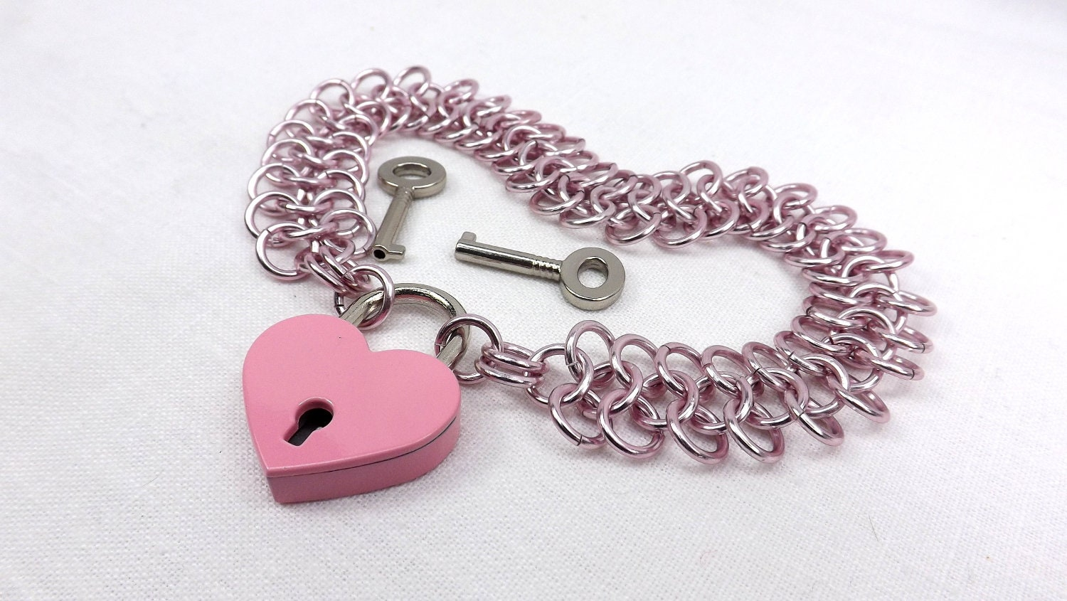 Pink locking heart with pink chain choker. Handmade chain with pink lock and key chain choker babygirl ddlg jewelry gift for her - product image