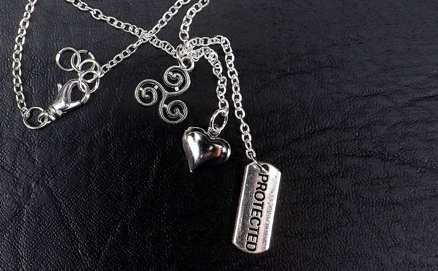 Triskelion Jewelry, protected and heart charm necklace Bdsm Necklace with Protected Charm mature Submissive Jewelry - product image