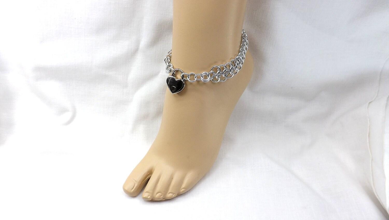 Locking Anklet Silver Heart Lock Ankle Bracelet bdsm jewelry bdsm anklet gift for her - product images  of