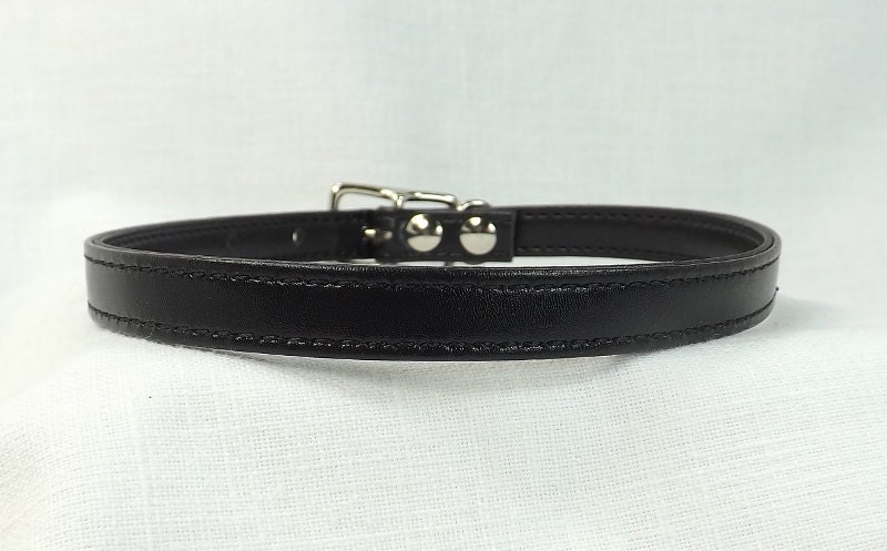 Discreet Day collar Submissive collar slave collar black leather day collar - product images  of