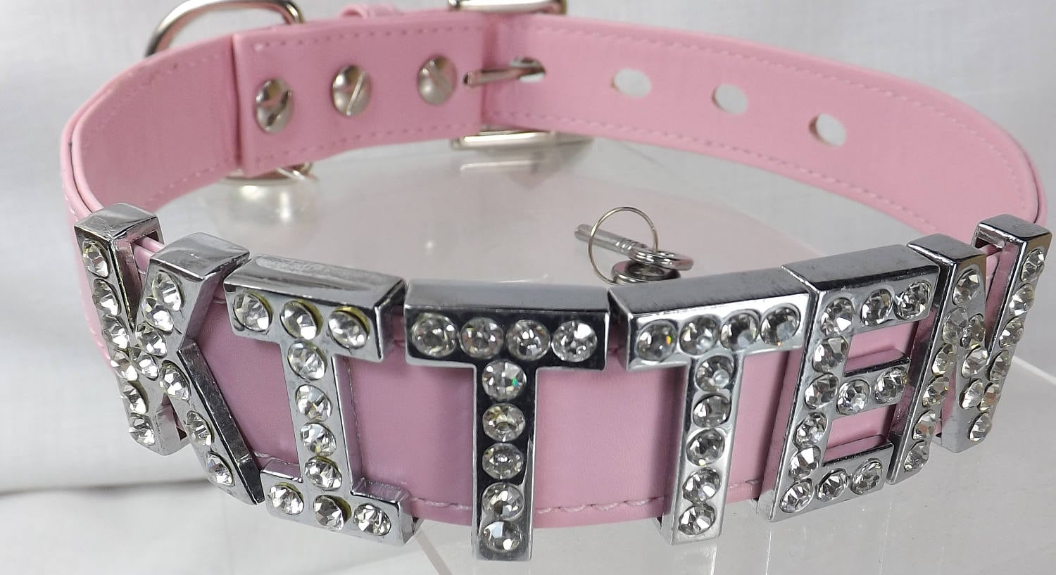 kitten play collar bdsm locking slave collar with lock Rhinestone letters ddlg pet play collar submissive collar kitten choker - product images  of