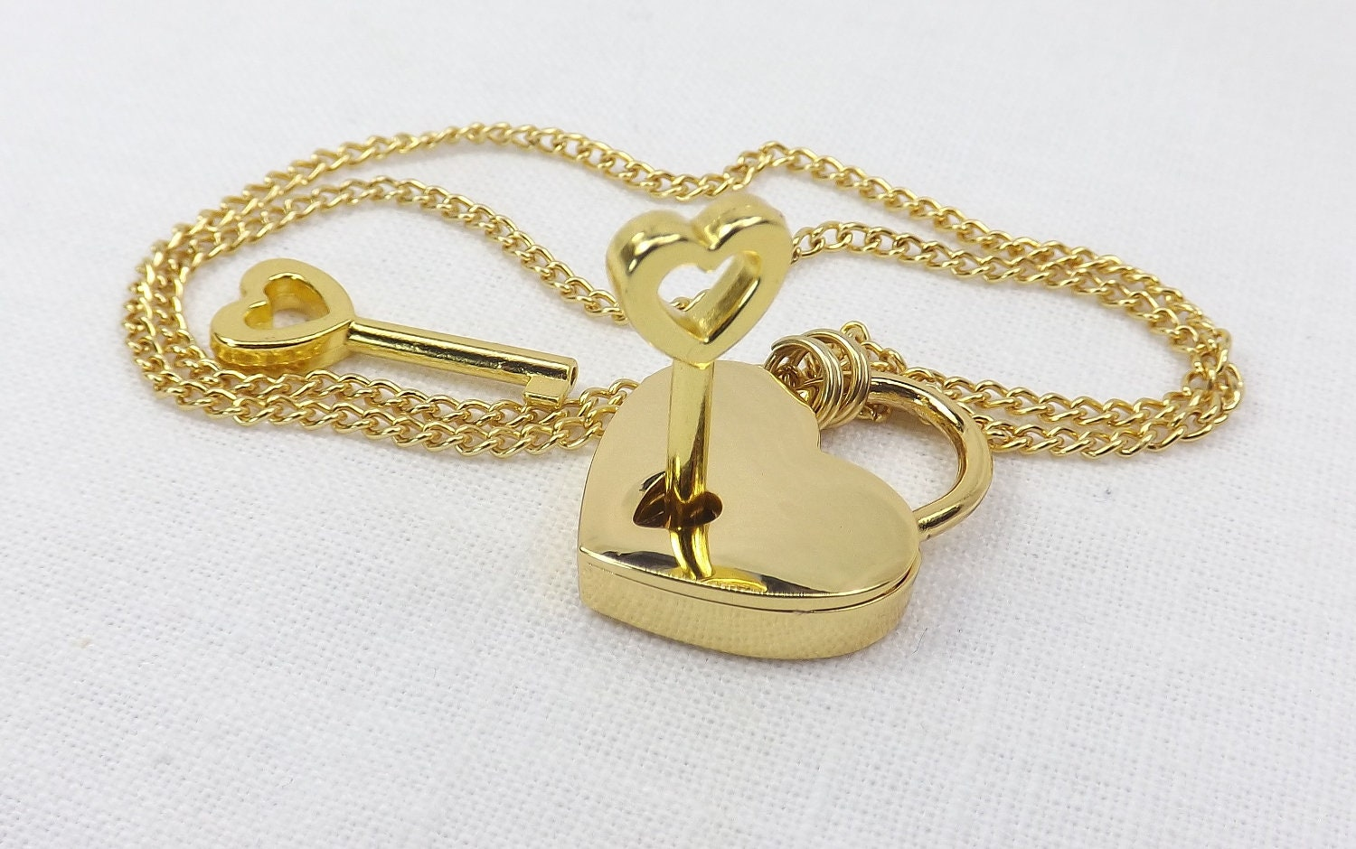 Locking Jewelry Gold color heart lock necklace gift for her submissive locking jewelry - product image