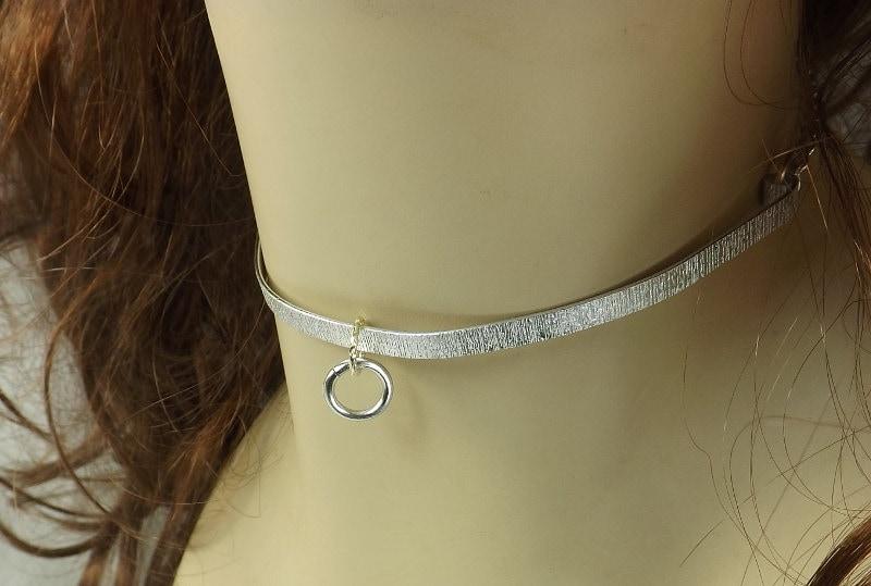 Metal Collar bdsm choker o ring textured metal bdsm collar love slave collar mature Day Collar metal choker - product image