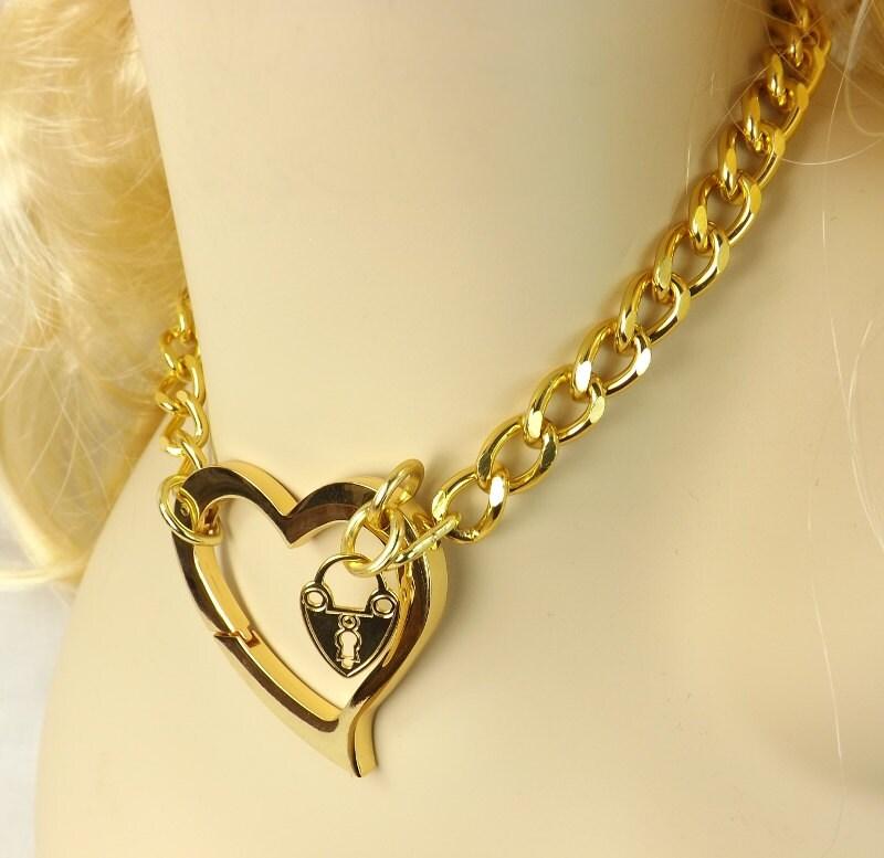 Gold Chain Choker Huge Heart bdsm day Collar discreet submissive jewelry bdsm bondage collar bdsm choker - product image