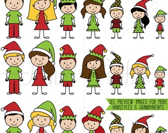 Christmas Stick Figure Clipart, Christmas Stick Figure Family Clipart - Commercial and Personal Use