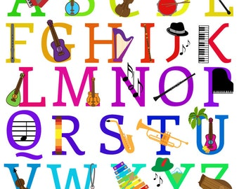 music alphabet font with instruments letters clipart clip art uppercase commercial and personal use
