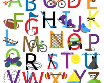 sports alphabet font with sports letters clipart clip art uppercase commercial and personal use