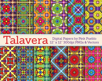 Digital Paper, Digital Scrapbook Paper Pack - Talavera Patterns - Commercial and Personal Use