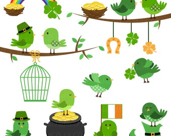 St Patrick's Day Birds Clipart Clip Art, St Patty's Day Clip Art Clipart and Vectors - Commercial and Personal