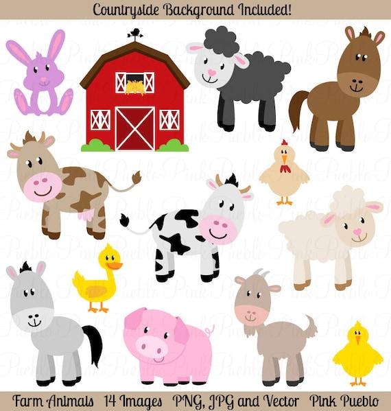 farm animals clipart farm animals clip art barnyard clipart etsy rh etsy com cartoon clipart of farm animals free farm animals clipart