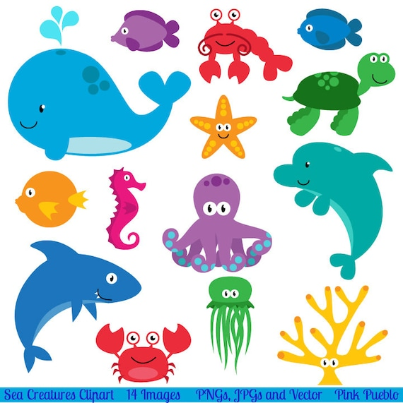Sea Animal Clipart Sea Animal Clip Art Sea Creatures Fish Etsy