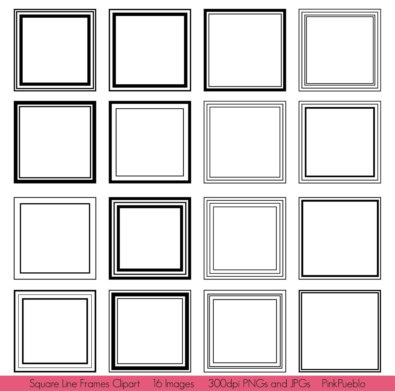 Square Frames Clipart Clip Art Square Line Frames Clipart | Etsy