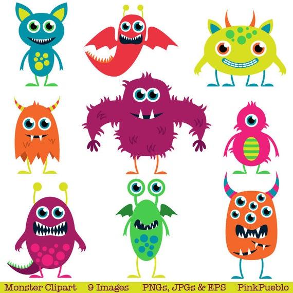 Cute Monsters Clip Art Clipart Aliens Clip Art Clipart | Etsy
