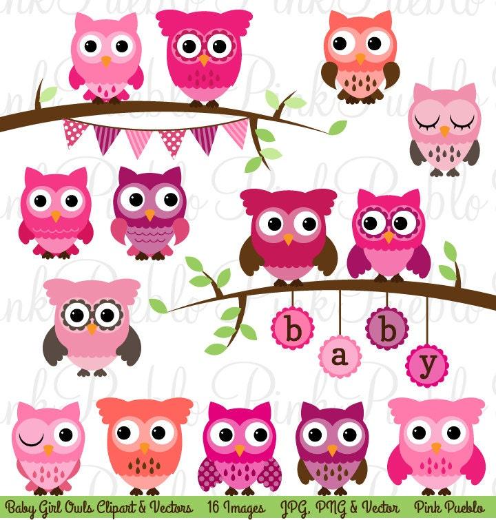 Baby Shower Girl Owl Clipart Clip Art Girl Baby Shower Owl Etsy
