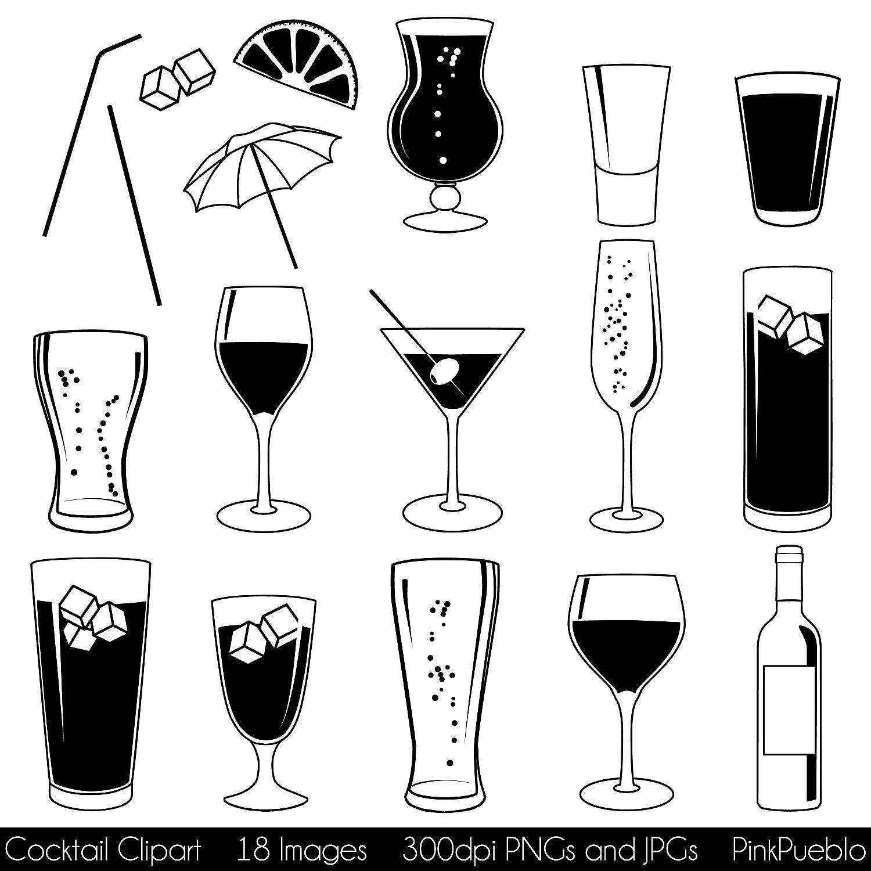 Cocktail Clipart ClipArt mit Wein Bier Sekt Martini