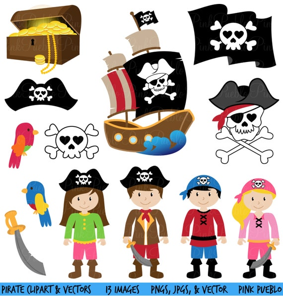 Pirate Clipart Clip Art And Vectors Commercial And Personal Etsy
