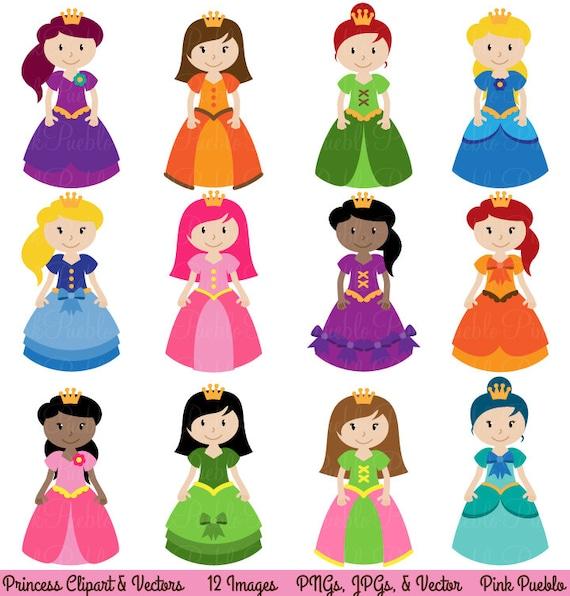 princess clipart clip art fairytale clip art clipart vectors rh etsy com princess clipart disney princess clipart images