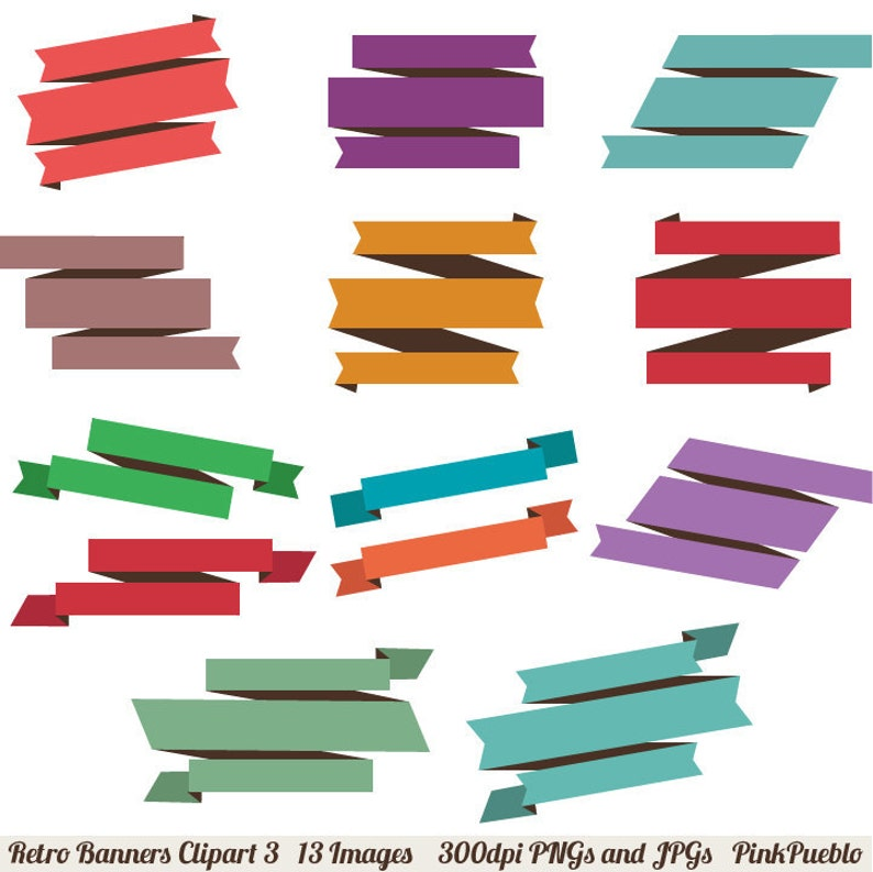 Retro Banners Clipart Clip Art 3 Vintage Ribbons Clipart Clip Art Commercial and Personal Use
