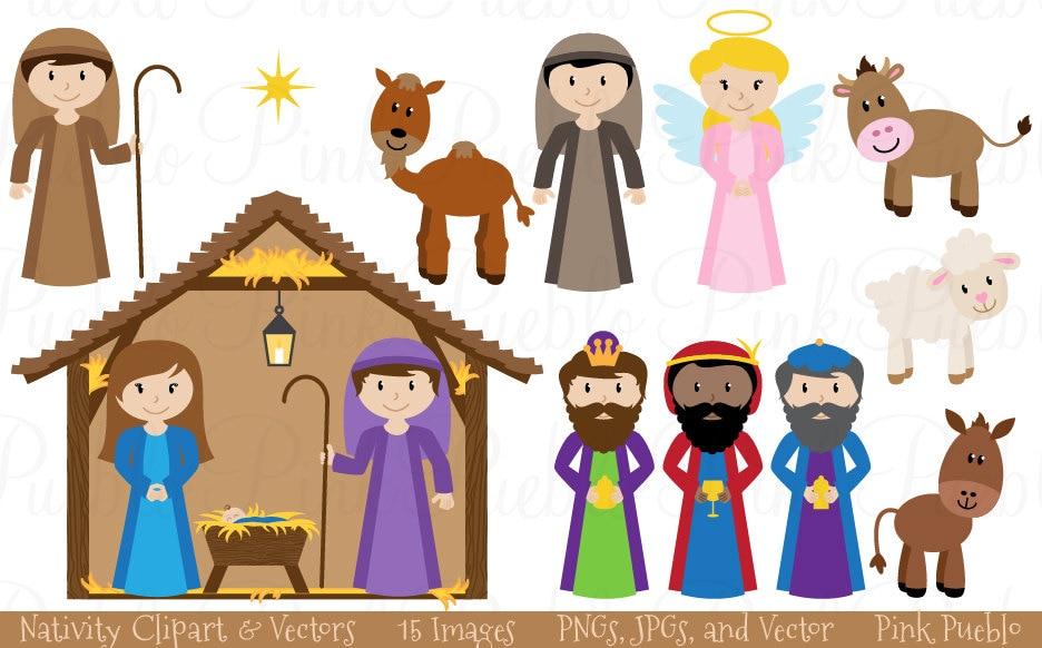 Nativity Clip Art Clipart Krippe Szene Clip Art Clipart | Etsy