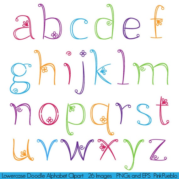 Doodle Alphabet Hand Drawn Girly Font Lowercase Commercial