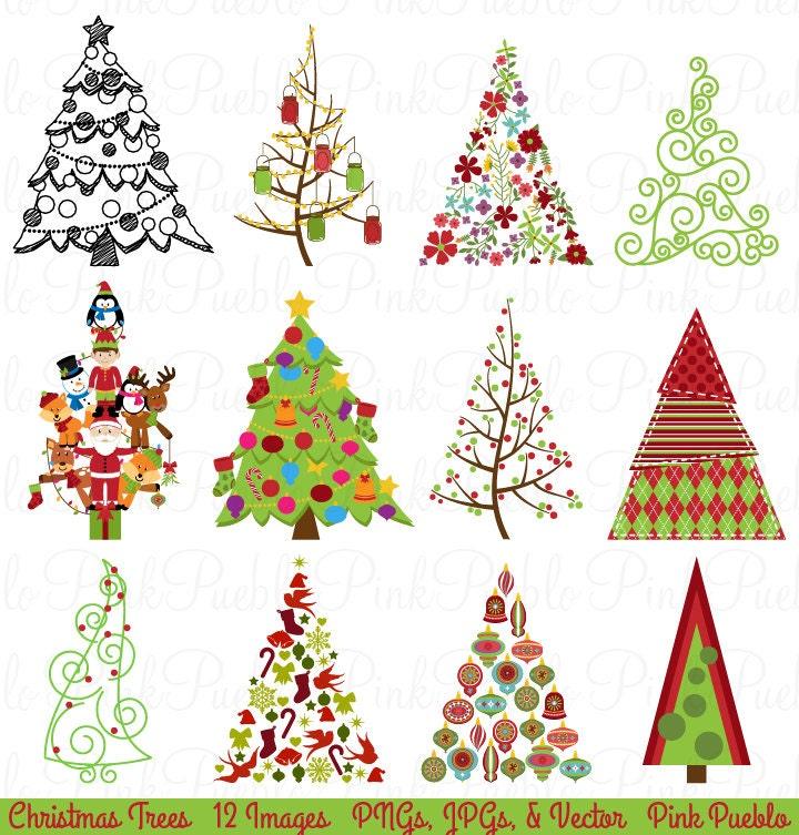 Weihnachtsbaum-Clipart ClipArt Weihnachten Urlaub Dekor | Etsy