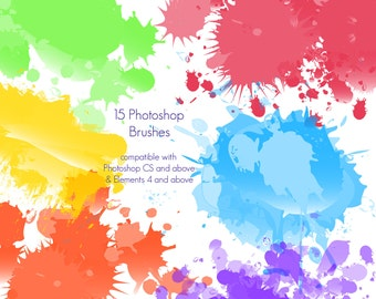 Paint Splatters Photoshop Brushes - Commercial License Included