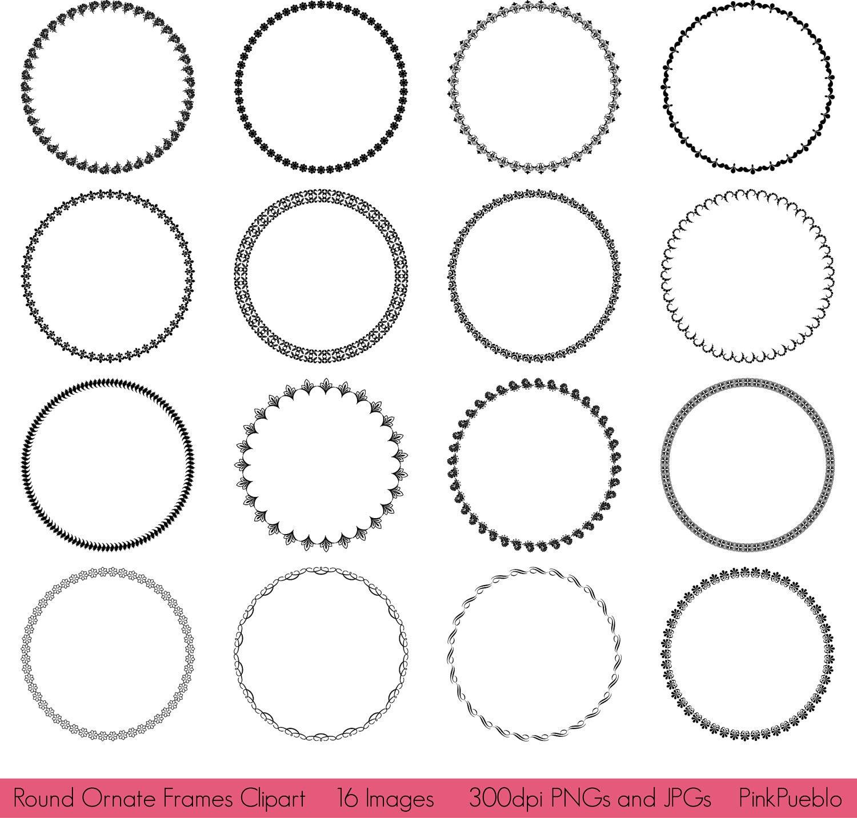 Runde Rahmen Clipart ClipArt runden verzierten Rahmen Clipart | Etsy