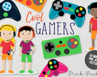 Gamer Clipart, Gamer Clip Art, Gamer Boy and Gamer Girl Clipart - Commercial and Personal