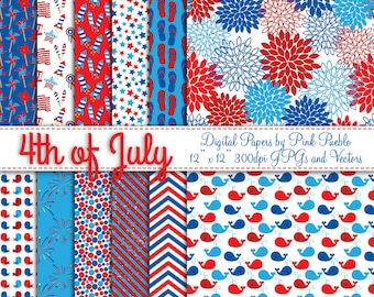 Fourth of July Digital Paper Pack, Digital Seamless Backgrounds - Commercial and Personal Use