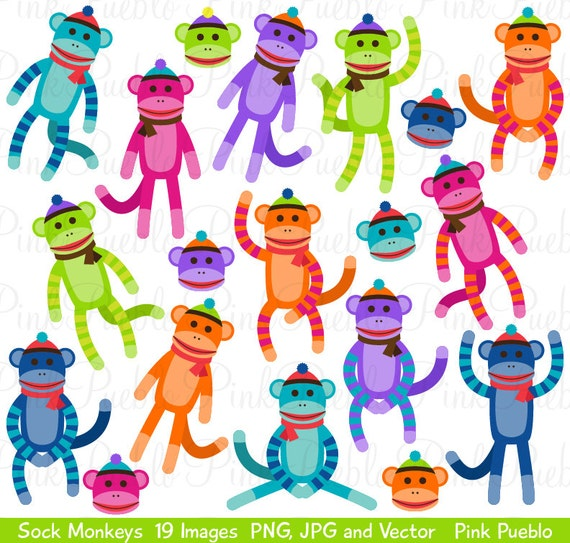 sock monkeys clipart clip art vectors great for sock monkey rh etsy com sock monkey clip art printables sock monkey clipart free