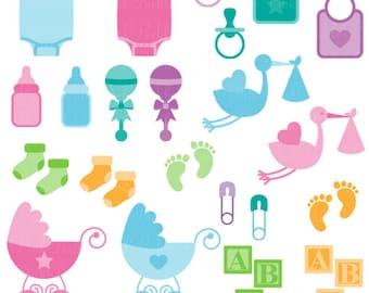 Baby Photoshop Brushes, Baby Shower Photoshop Brushes - Commercial Use