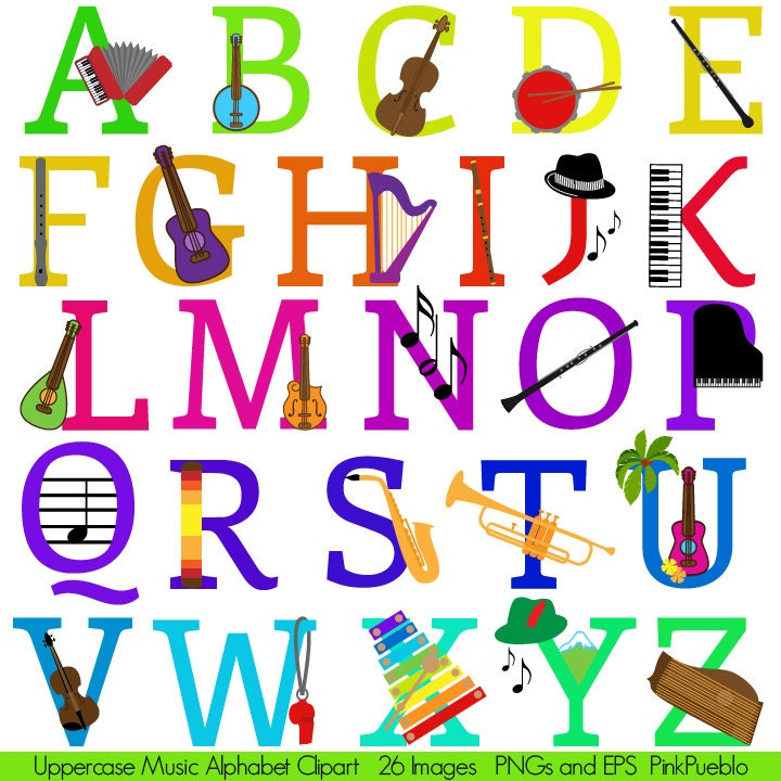 Music Alphabet Font With Instruments Letters Clipart Clip
