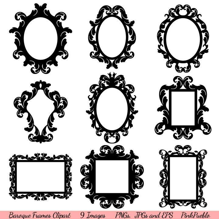 Baroque Frames Clipart Clip Art Vintage Frames Borders | Etsy