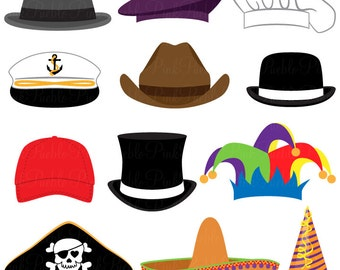 Hats Clipart Clip Art, Party Hat Top Hat Clipart Clip Art Vectors Photobooth Props - Commercial and Personal Use