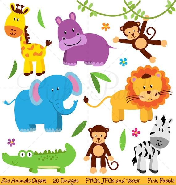 zoo animal clip art zoo animal clipart safari jungle animal etsy rh etsy com clip art of zoo animals for kids clip art of zoo animals for kids