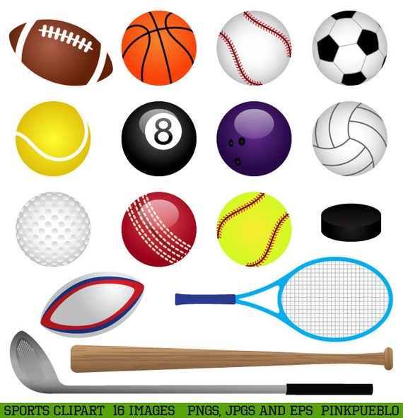 sports clipart clip art basketball baseball football golf etsy