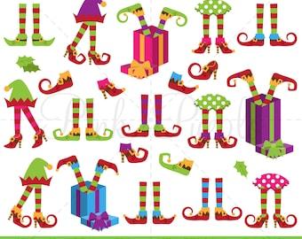 Christmas Clipart, Elf Legs Clip Art, Elf Feet Clipart, Elf Legs Clipart - Commercial Use