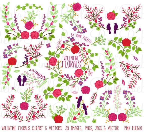 Vintage Valentine S Day Floral Clipart Clip Art Vintage Etsy