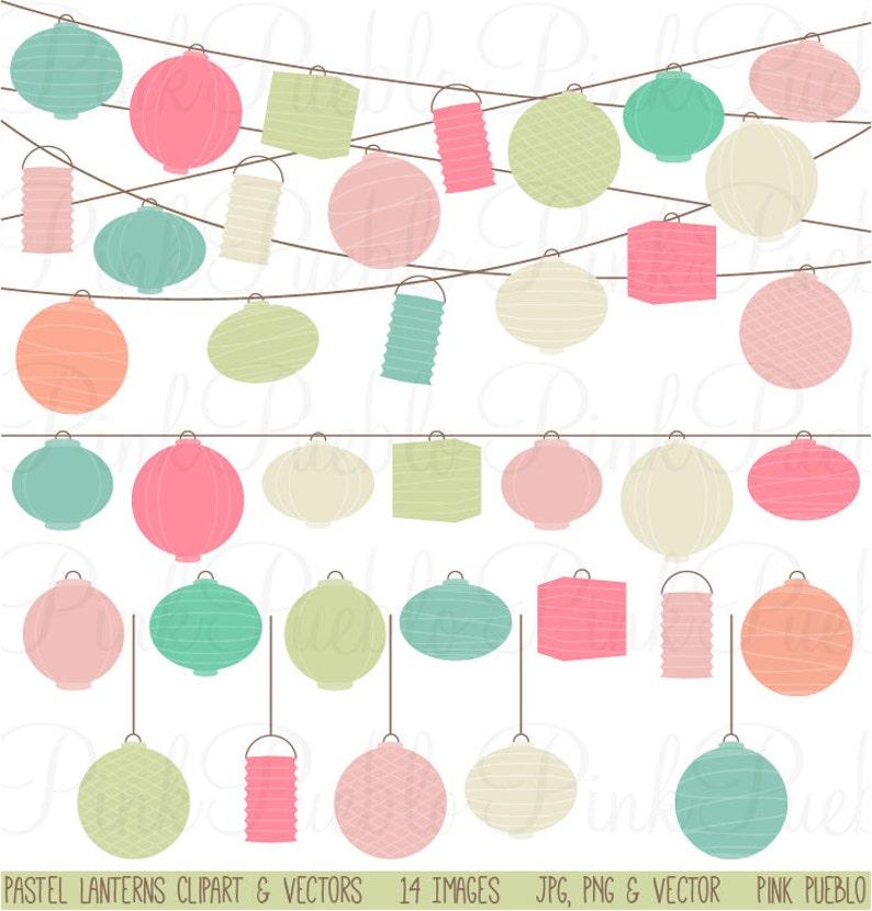 Lanterns Clipart Clip Art Pastel Paper Hanging Lantern Clipart Clip Art Vectors Commercial and Personal Use