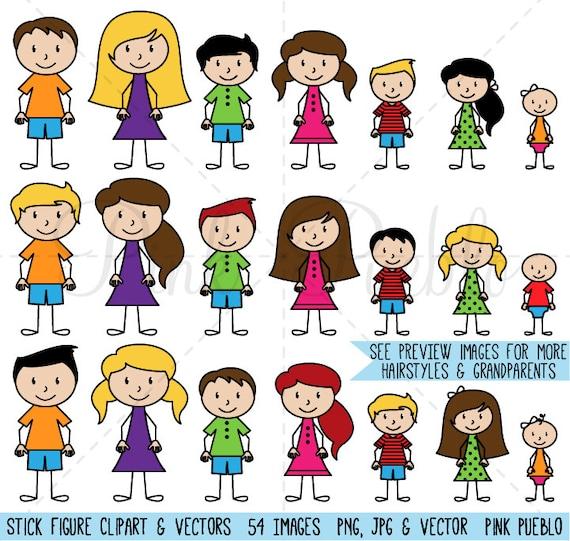 stick figure clipart clip art vectors stick people family etsy
