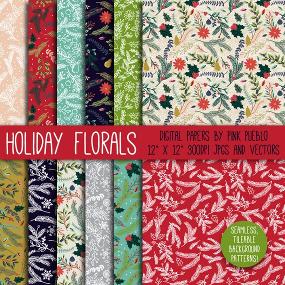 Christmas Holiday Floral Digital Paper Scrapbook Paper Christmas Floral Background Pattern Commercial and Personal Use