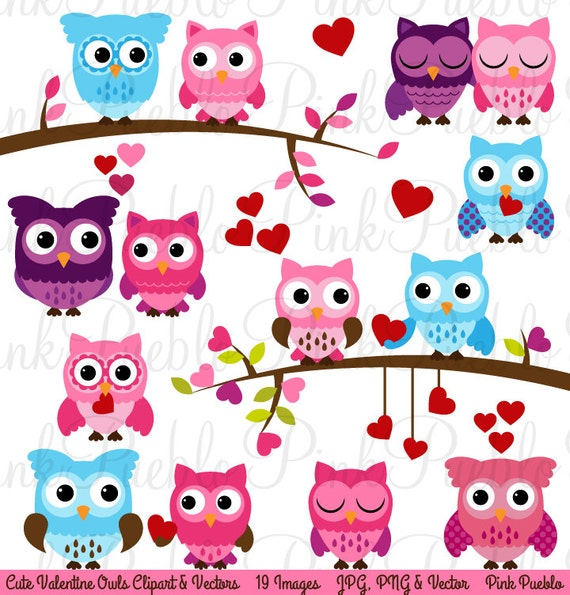 Valentine Owl Clipart Clip Art Valentine S Day Owls Etsy